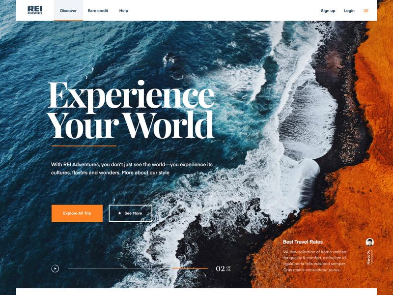 Rei.com - Landing Page typography identity app photo branding ux ui page landing web website