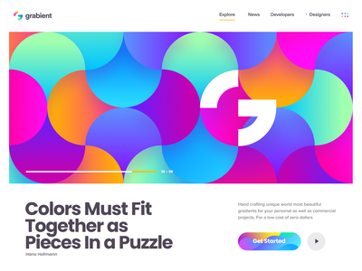 Grabient 2.0 typography colors fun gradient ux ui background wallpaper illustration web page landing website