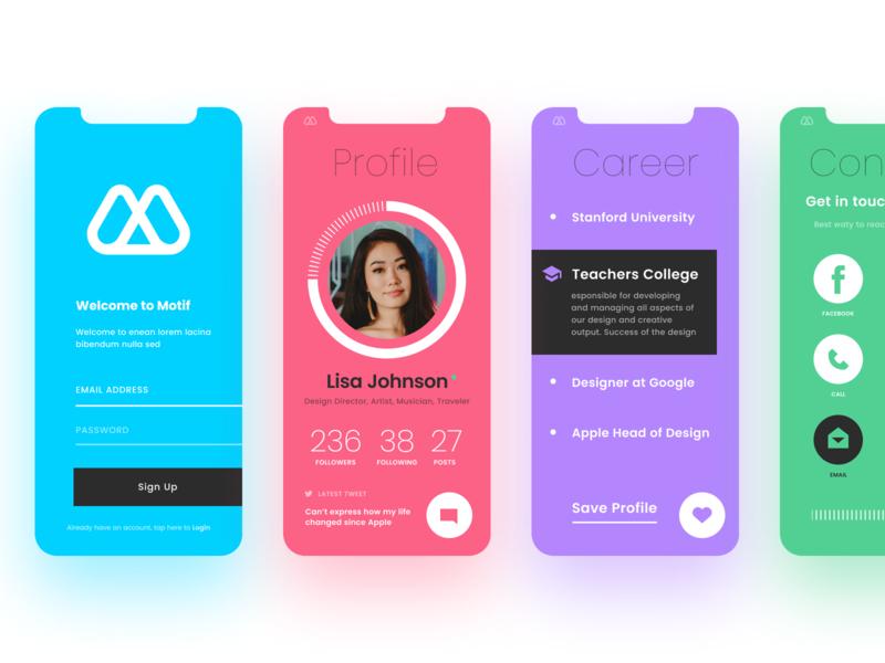 ⓜ - motif profile branding set icons button application web ios iphone ux ui app