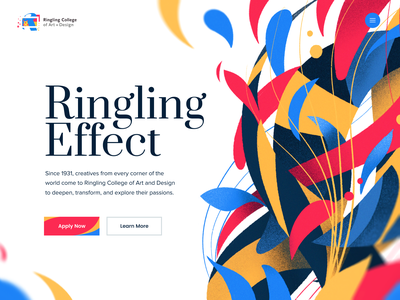 Ringling - Landing Page college school app typography illustration drawing ipad procreate paint site web landing website ringling
