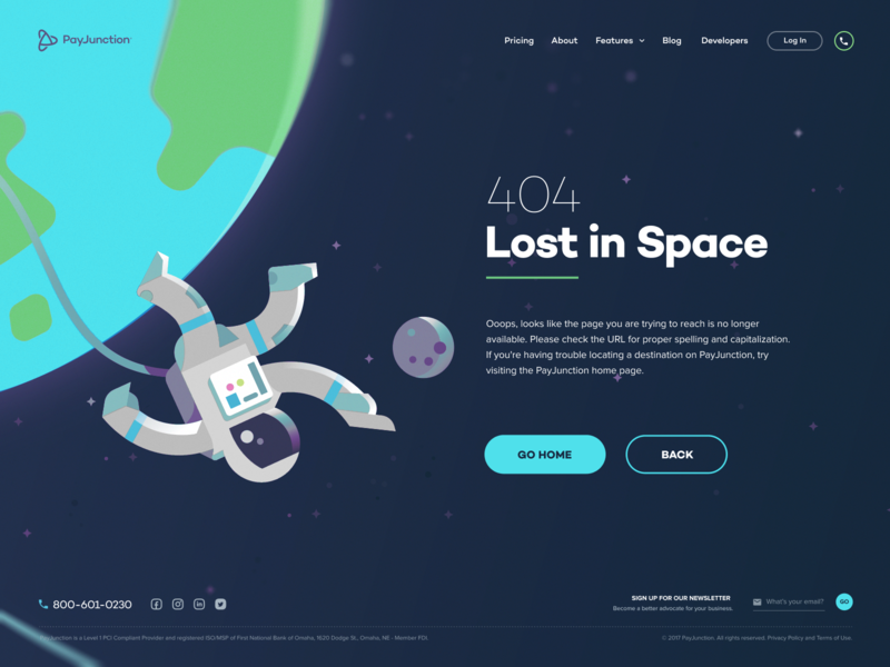 PayJunction - 404 earth moon space spaceman vector drawing illustration payment website