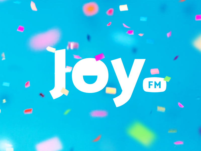 Joy Fm happy joy radio typography design identity branding illustration logo icon
