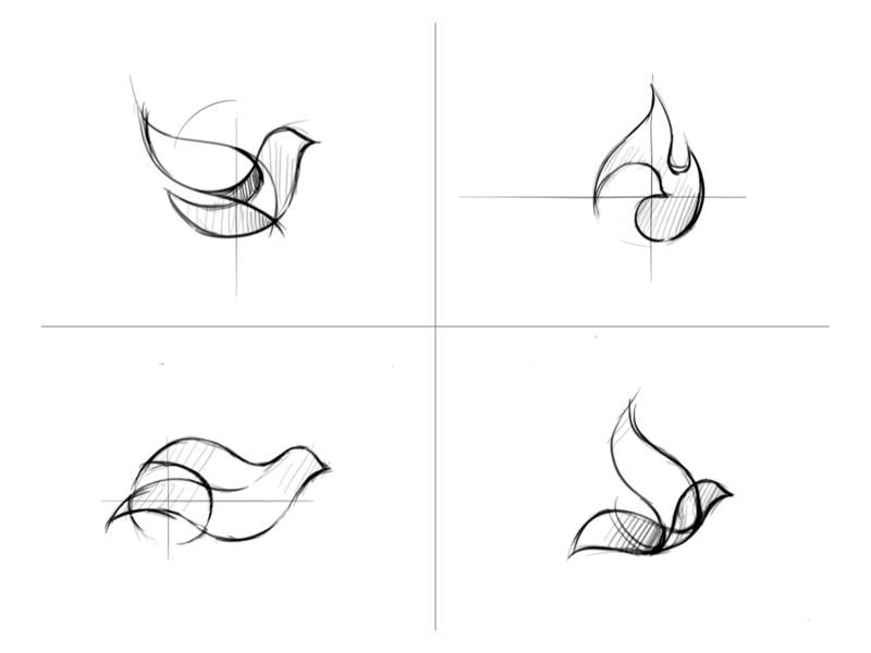 🕊 + 🔥 sketch drawing logo icon branding illustration identity