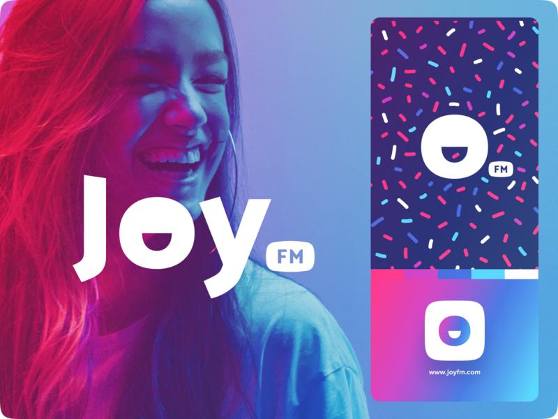 Joy.fm 🎉 typography web landing website iphone icon logo app identity branding illustration