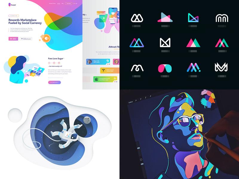 2018 ui landing typography ux website icon iphone ios mark branding identity logo