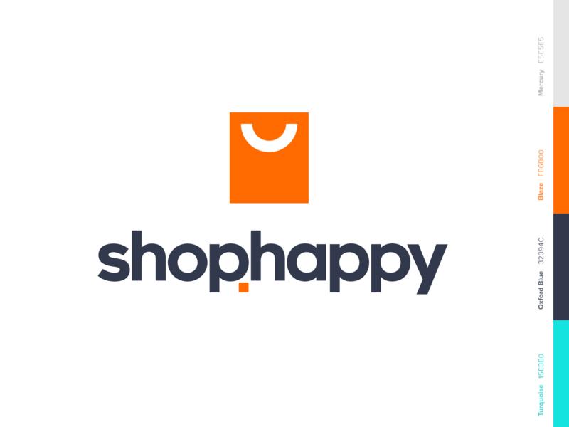 shop.happy vector mark website app identity branding illustration logo icon