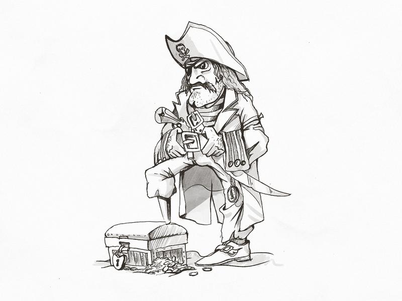 🏴☠️ lock belt dude man sword skull chest pirate tshirt sketch drawing illustration