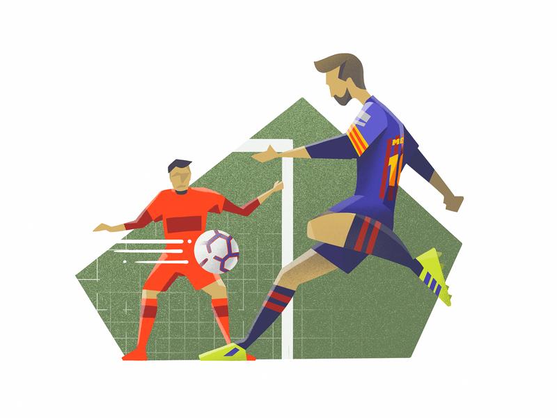 Messi vs Sevilla procreate illustrator drawing football soccer sevilla barcelona messi illustration