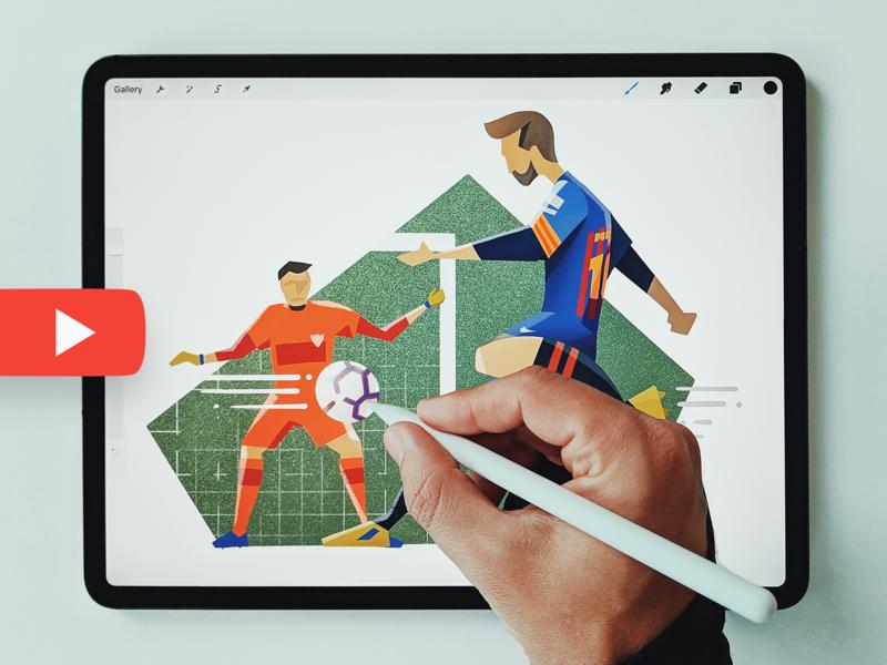 Messi - Video ipad procreate painting drawing football soccer leo messi sevilla barcelona barca illustration