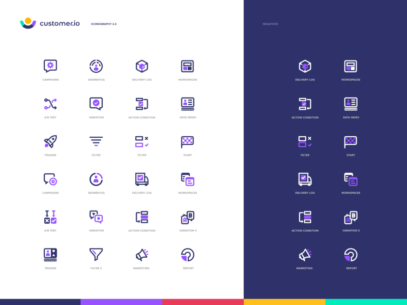 Customer.io - Iconography ui web app mobile settings website rocket person palette identity branding illustration set icon