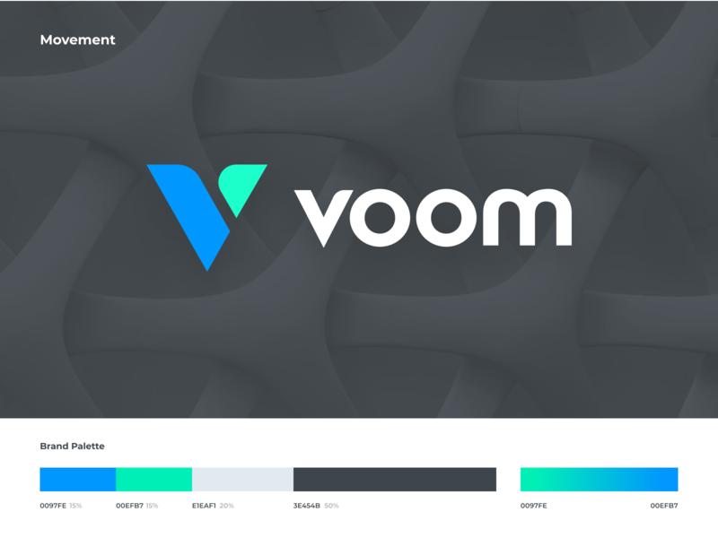 Voom typography design mark app identity branding logo icon illustration