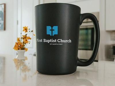 First Baptist Church jesus cross bible mug identity branding illustration logo icon