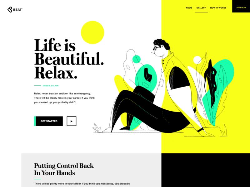 ❥beat nature plants relax dude page landing website branding illustration logo icon