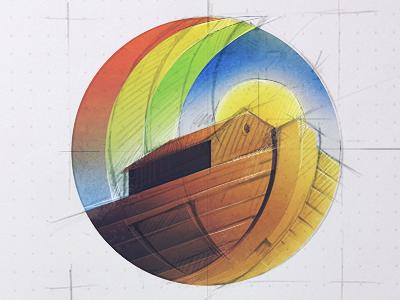 ark sketch icon illustration sketch rough idea church ark sun rainbow