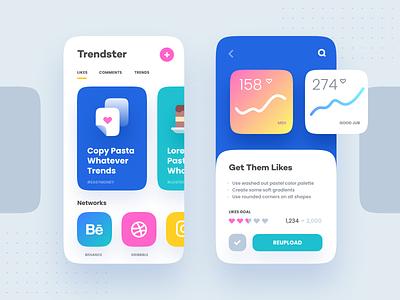 Getting Trendy stats copy set icon branding app trend