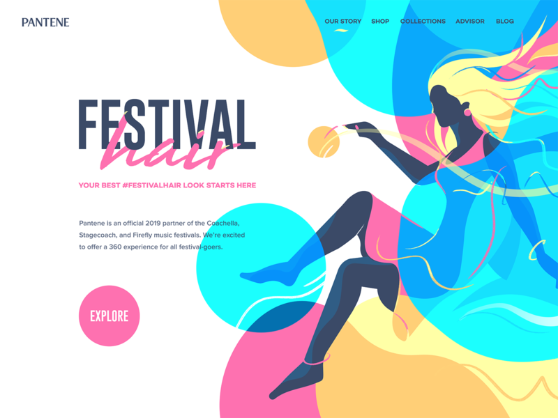 Pantene girl illustration pantene web site page landing website identity branding