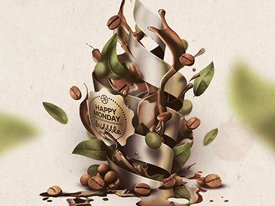 monday coffee coffee illustration leafs natural