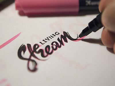 Living Stream logo church identity branding mark type sketch brush lettering typography calligraphy