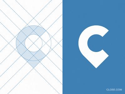 close vector logo logomark identity pin map minimal geometry construction process