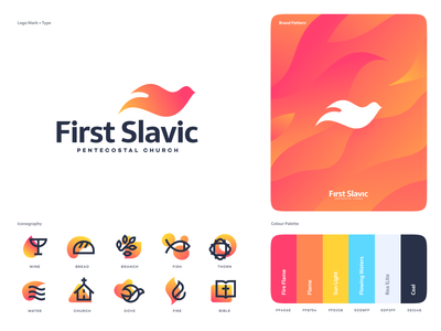 First Slavic Pentecostal Church bird flame fire dove mark typography website app identity illustration branding logo icon
