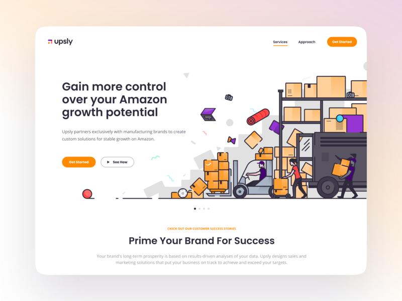 Upsly amazon app illustration design web website