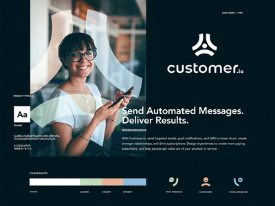 customer.io branding typography design mark app identity illustration branding logo icon