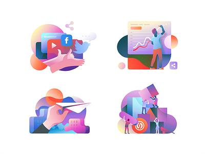 crowdrise illos landing iphone sketch website app identity illustration branding icon