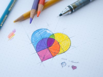Map pins - heart heart map pins logo concept idea sketch colors iphone android ios icon pencil