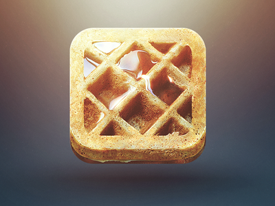 waffle iphone icon waffle ios iphone app icon food syrup yummy good morning sketch ipad bite clean crispy button yellow liquid reflection design illustration drawing identity mark logo clever idea