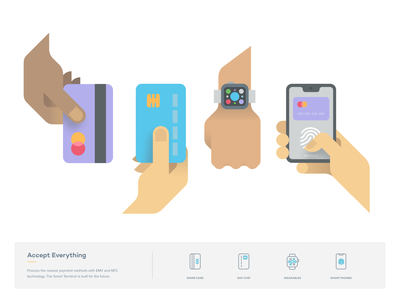 PayJunction - Accept Everything hand web website identity branding payment card phone android iphone illustration