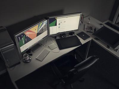 my workspace workspace desktop desk working area work office photo intuous cintiq ipad imac mac pro mug headphones hourglass job