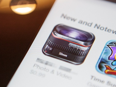 dslr lens icon ios iphone icon lens camera dslr 50mm glass metal ipad photo video shiny app store