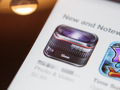 dslr lens icon ios iphone icon lens camera dslr 50mm glass metal ipad photo video shiny app store
