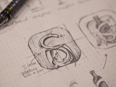 Sipp icon icon illustration sketch rough idea iphone ios wine glass wood sipp