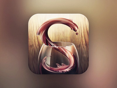 Sipp wine ios iphone apple icon. glass winery sipp sip icon liquid water flow glow wood drink