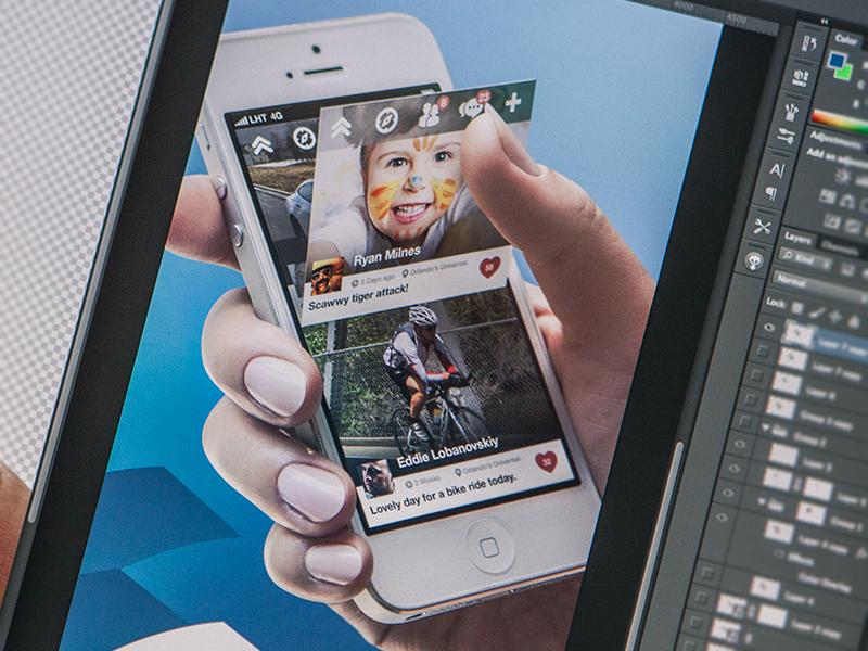 close promo close print promo ad banner hand iphone 5 ios app icon apple design timeline flip like home photoshop process