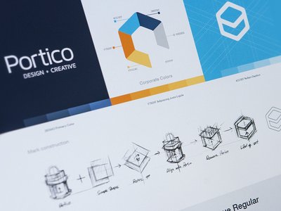 Portico identity identity logo mark type logotype colors construction branding fonts icon design sketch