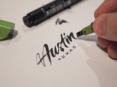 Austin  calligraphy lettering pilot pen logo austin texas tx sxsw brush typography typeface identity type logotype