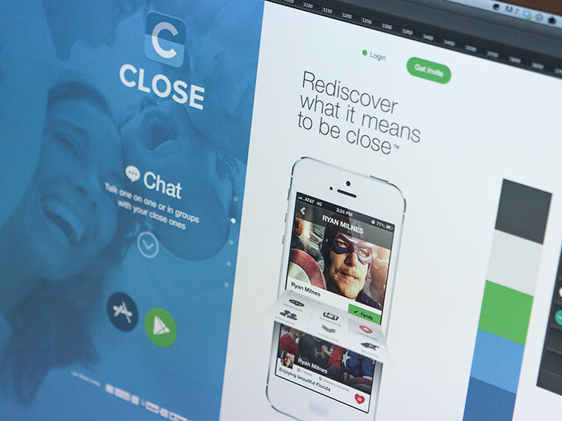 Close landing page layout design icon iphone app android website close ui login register arrow identity flat