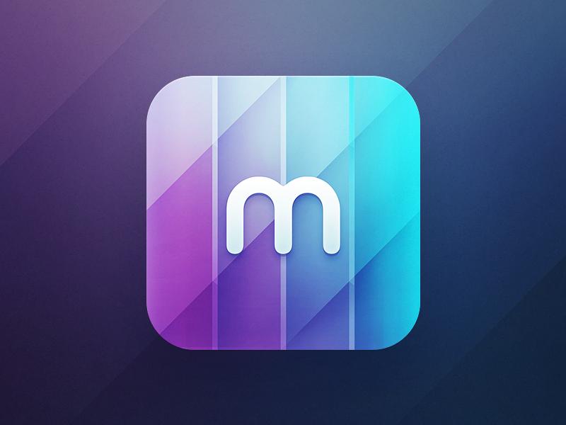 Memoir Icon ios iphone icon simple memoir memory identity sketch process idea ipad apple m letter purple reflections