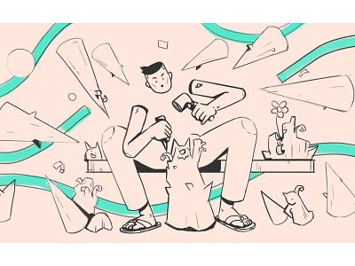 Technical Debt photoshop textured carving overload debt linework character sketch conceptart procreate illustration