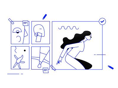 Process visualdevelopment minimal process illustration lineart