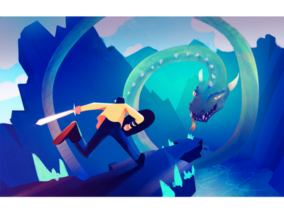 Storytelling visualdevelopment sketch photoshop conceptart character illustration sword dragon challenge