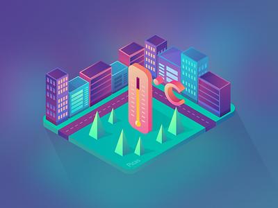 Isometric Icon 01 picas weather temperature urban trending illustration graphic gradiant isometric icon