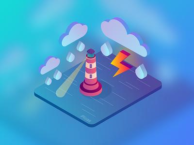 Isometric Icon 02 lighthouse lightning weather picas graphic gradiant isometric illustration icon