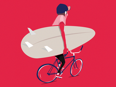 Surf & Ride design illustration bicycle bike ride surf