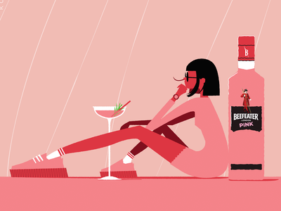 Pink your game character illustrator artwork sneakers girl woman cocktail illustration gin beefeater pink