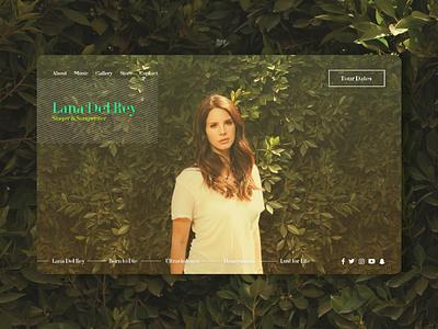 Lana Del Rey - Landing Page singer landing page minimal website artist lana del rey