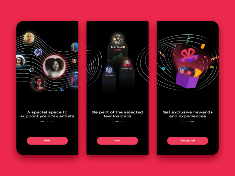 Fan Engagement Platform - Onboarding Screens ios app illustration ngnvuan pink fan artist music award gift introduction onboarding figma vietnam ui