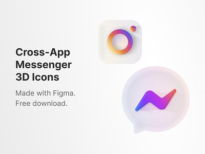 Instagram + Messenger 3D App Icon vector messenger chat neumorphism gradient ngnvuan visual design ui app icon figma icon 3d instagram facebook